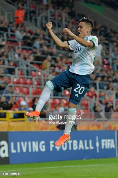 Esequiel Barco of Argentina celebrates as he scores his team's third goal during the 2019 FIFA U20 World Cup group F match between Argentina and...