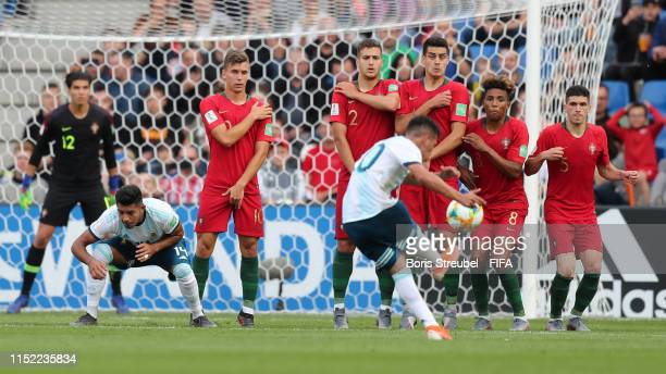 Esequiel Barco of Argentina shoots a freekick during the 2019 FIFA U-20 World Cup group F match between Portugal and Argentina at Bielsko-Biala...
