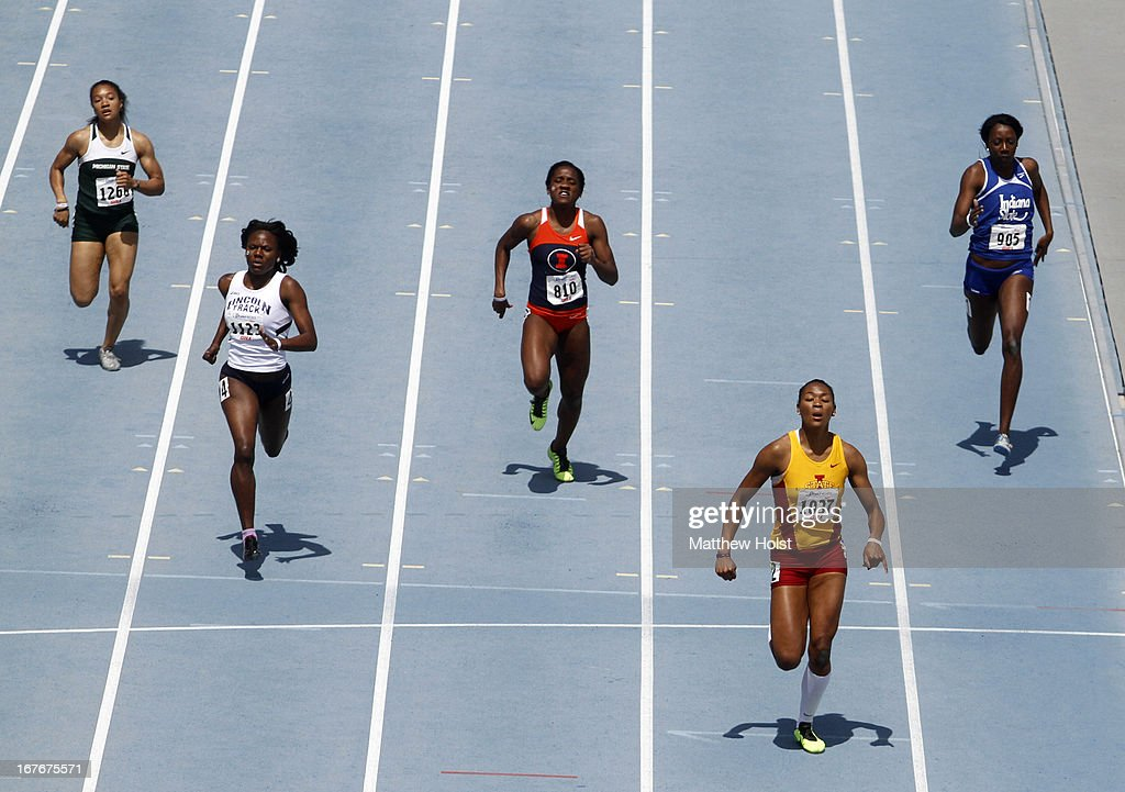 Eseroghene Okoro, of the Iowa State Cyclones, runs the final stretch on the way to winning the Women's 400-meter Hurdles at the Drake Relays, on April 27, 2013 at Drake Stadium, in Des Moines, Iowa.