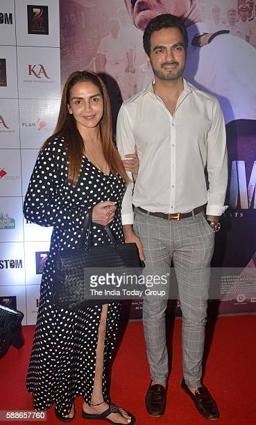 Esha Deol along with her husband Bharat Takhtani during the screening of film 'Rustom' in Mumbai