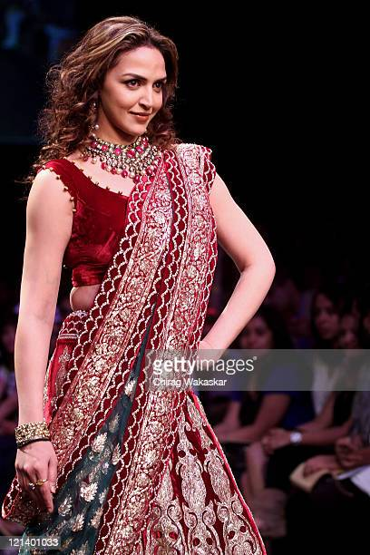 Esha Deol walks the runway at the Shyamal Bhumika show at Lakme Fashion Week Winter/Festive 2011 Day 3 at the Grand Hyatt on August 19 2011 in Mumbai...