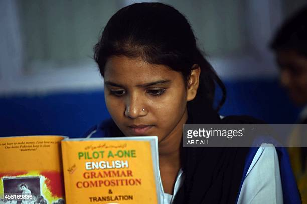 Esham Masih daughter of Asia Bibi a Pakistani Christian mother sentenced to death in under blasphemy laws attends class at a school in Lahore on...