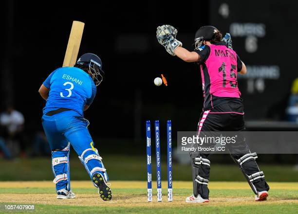 Eshani Lokusooriya of Sri Lanka bowled by Amelia Kerr of New Zealand during a warmup match at Coolidge Cricket Ground on November 4 2018 in Coolidge...