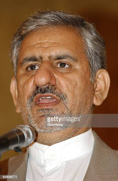 Es'Haq Jahangiri Iranian minister of industries and mines speaks at the first Iran Gas Export Conference in Tehran Iran Sunday April 25 2004