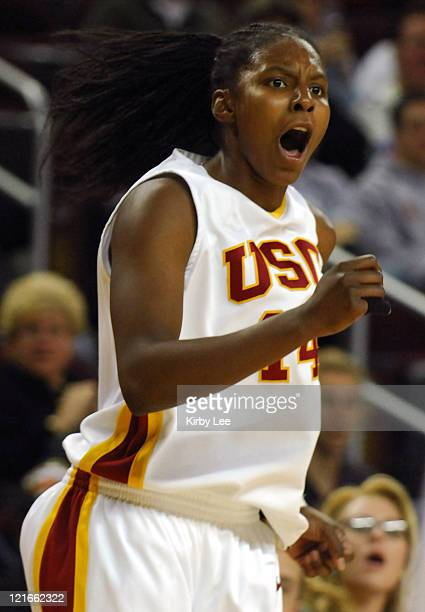 Eshaya Murphy of Southern California celebrates a 3-point basket during 79-71 double overtime victory in Pacific-10 Conference women's basketball...