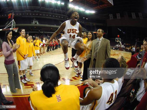 Eshaya Murphy of USC jumps and shouts during player introductions before Pacific10 Conference women's basketball game against Arizona State at the...