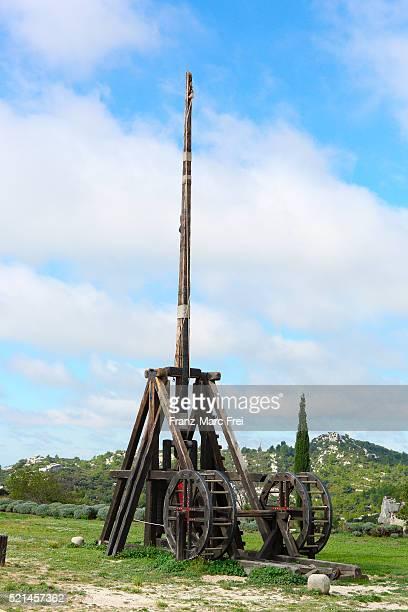 Eshibition of medieval catapults, castle, Les Baux-de-Provence, Les Alpilles, Provence