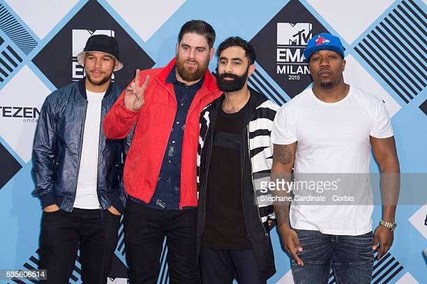 Esi Dryden Piers Aggett DJ Locksmith and Amir Amor of Rudimental pose in the winners room at the MTV EMA's 2015 at Mediolanum Forum on October 25...