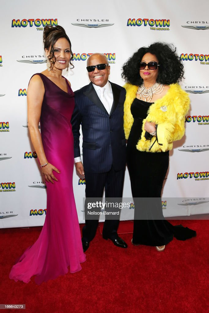 ((L-R) Eskedar Gobeze, Berry Gordy Jr and Diana Ross attend the Broadway opening night for 'Motown: The Musical' at Lunt-Fontanne Theatre on April 14, 2013 in New York City.