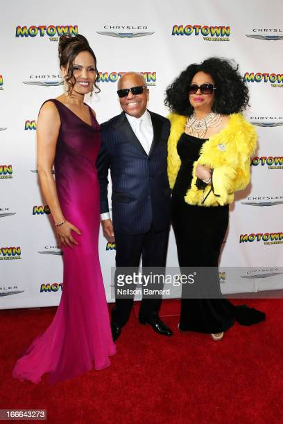 "Eskedar Gobeze, Berry Gordy Jr and Diana Ross attend the Broadway opening night for ""Motown: The Musical"" at Lunt-Fontanne Theatre on April 14, 2013..."