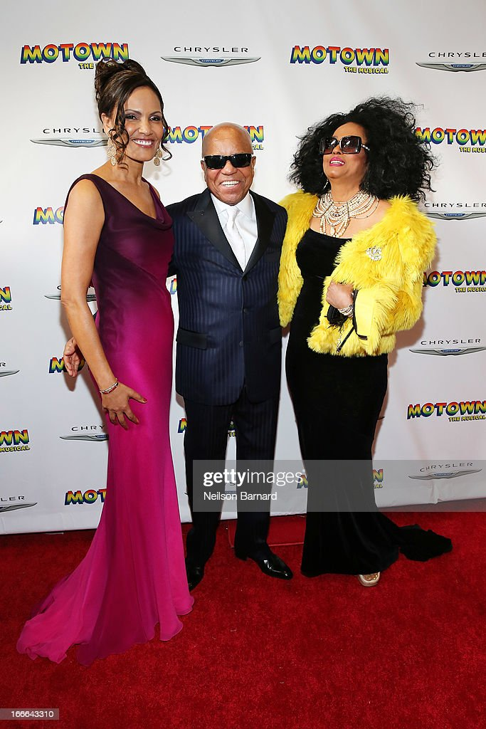 Eskedar Gobeze, Berry Gordy Jr and Diana Ross attend the Broadway opening night for 'Motown: The Musical' at Lunt-Fontanne Theatre on April 14, 2013 in New York City.