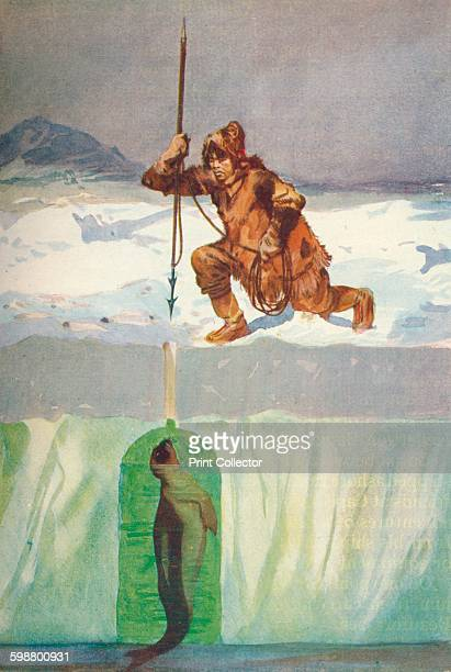 Eskimo About To Spear A Seal Through Its BreathingHole circa 1927 From The Book of Polar Exploration by E L Elias MA [George G Harrap Company Ltd...