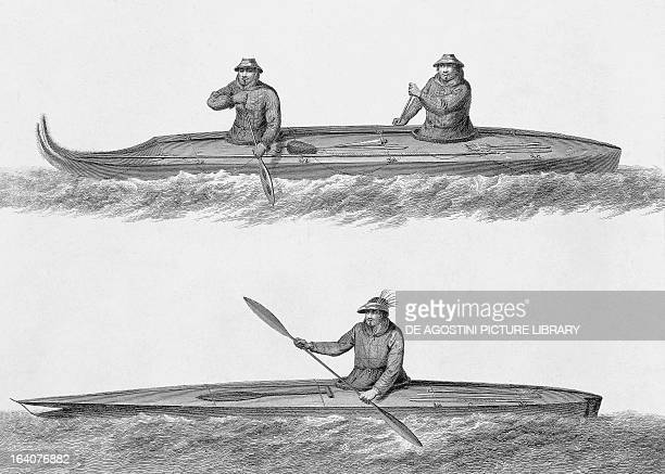 Eskimo boats engraving from a drawing by John Webber from an account of the last voyage of James Cook undertaken between 1776 and 1779 Aleutian...