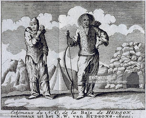 Eskimo family from Hudson Bay engraving from A voyage to Hudson'sBay by the Dobbs Galley and California in the years 1746 and 1747 for discovering a...