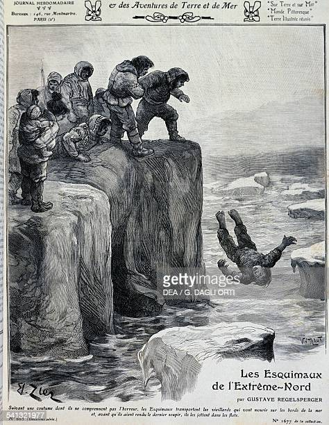 Eskimos ending an elderly person's life by throwing them into the icy waters illustration for The Eskimos of the far north by Gustave Regelsperger an...