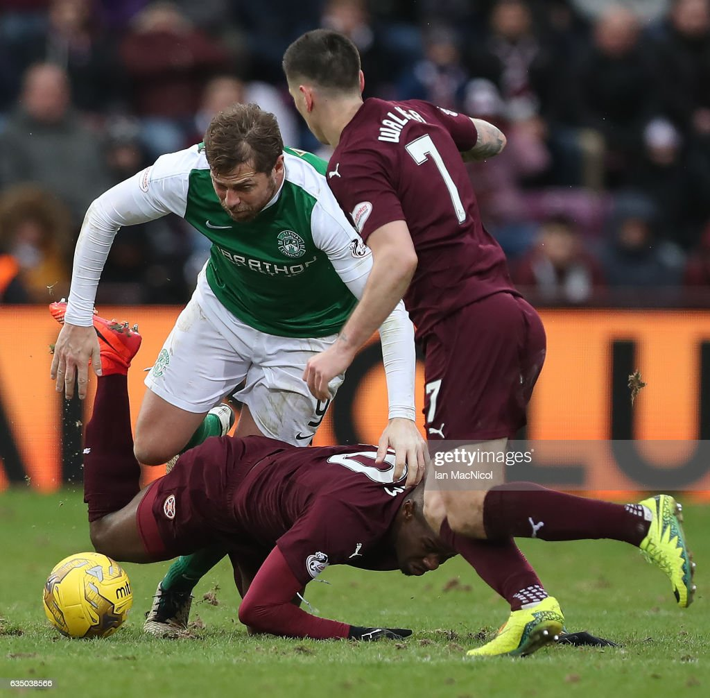 Esmael Goncalves of Heart of Middlothian vies with Grant Holt of Hibernian during the Scottish Cup Fifth Round match between Heart of Midlothian and Hibernian at Tynecastle Stadium on February 12, 2017 in Edinburgh, Scotland.