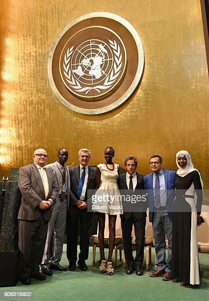 Esmail Dezhbod, Yiech Pur Biel, Filippo Grandi, Alek Wek, Ben Stiller, Tika Acharya, and Emi Mahmoud attend UNHCR #WithRefugees petition handover at...
