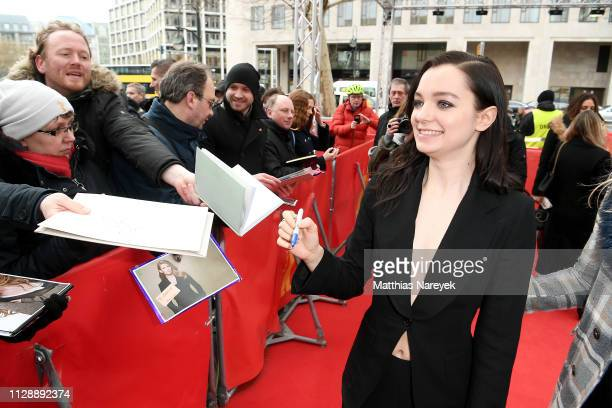 Esme CreedMiles signs autographs for fans while attending the Hanna premiere during the 69th Berlinale International Film Festival Berlin at Zoo...
