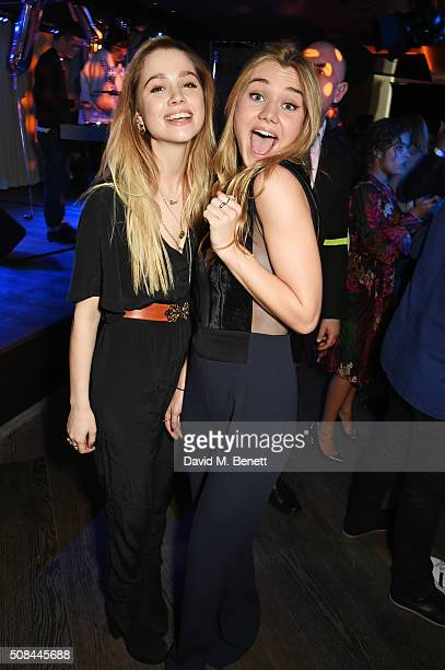 Esme Drummond and Immy Waterhouse attend the InStyle EE Rising Star party ahead of the EE BAFTA Awards at 100 Wardour St on February 4 2016 in London...