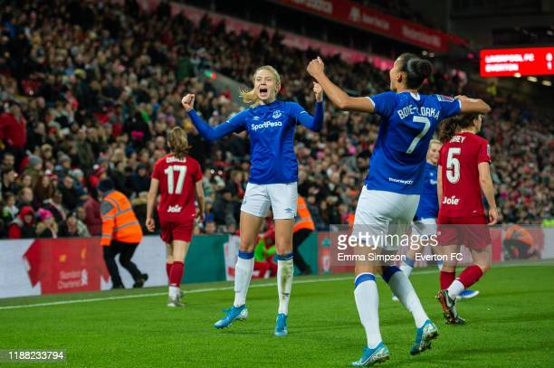 Esme Morgan and Chantelle BoyeHlorkah celebrate win at the end of the Barclays FA Women's Super League match between Liverpool and Everton at Anfield...