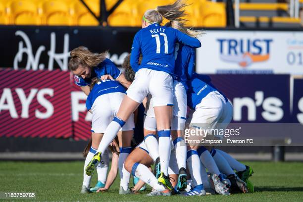 Esme Morgan of Everton celebrates goal with team mates during the Barclays FA Women's Super League match between Everton and Brighton Hove Albion at...
