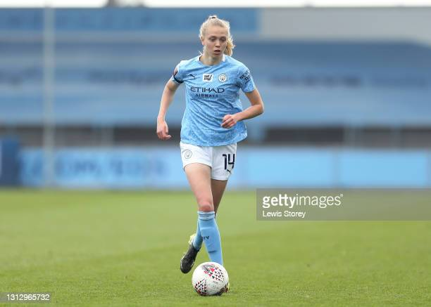 Esme Morgan of Manchester City runs with the ball during the Vitality Women's FA Cup Fourth Round match between Manchester City Women and Aston Villa...