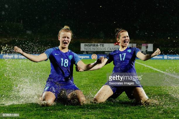 Esmee de Graaf of Holland Women, Merel van Dongen after the cancelled match due to the heavy rain during the Algarve Cup Women match between Holland...
