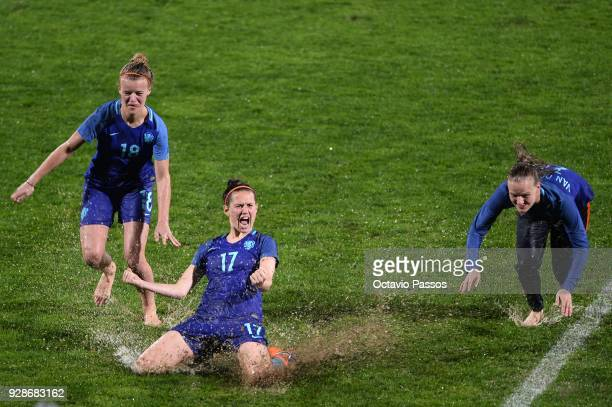 Esmee De Graaf of Netherlands play on the sodden turf as the Women's Algarve Cup Tournament Final match between Sweden and Netherlands at Municipal...