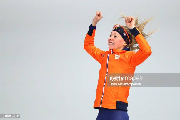 Esmee Visser of the Netherlands celebrates winning the gold medal in the Ladies' Speed Skating 5000m on day seven of the PyeongChang 2018 Winter...