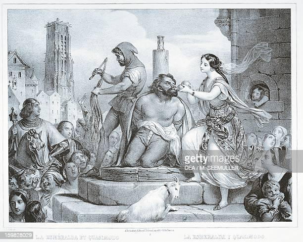 Esmeralda and Quasimodo illustration by Eugene Deveria for the novel The Hunchback of NotreDame by Victor Hugo Paris Hôtel Carnavalet