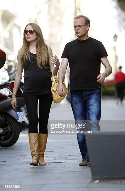 Esmeralda Moya and her father Angel Moya are seen on April 16 2013 in Madrid Spain