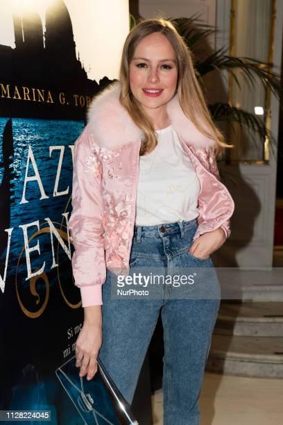 Esmeralda Moya attends the presentation of the book AZUL VENEZIA by Marina G Torrus at the casino in Madrid Spain February 28 2019
