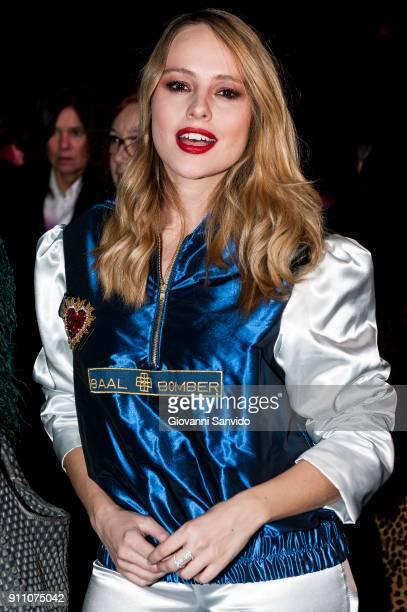 Esmeralda Moya is seen at the Ulises Merida show during the MercedesBenz Fashion Week Madrid Autumn/Winter 201819 at Ifema on January 27 2018 in...