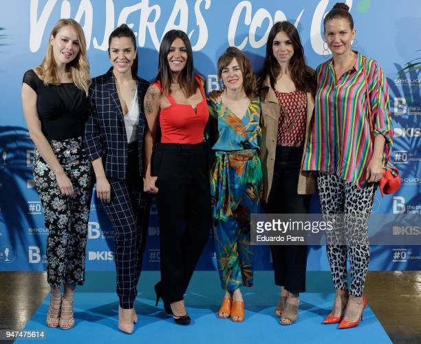 Esmeralda Moya Roko Lorena Castell Marta Goikoetxea Elena Furiase and Samantha VallejoNagera attend the 'Viajers con B' photocall at Proyecciones...