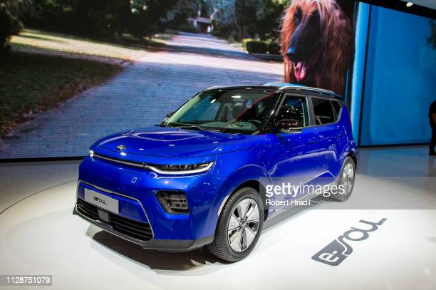 KIA eSoul is displayed during the first press day at the 89th Geneva International Motor Show on March 5 2019 in Geneva Switzerland