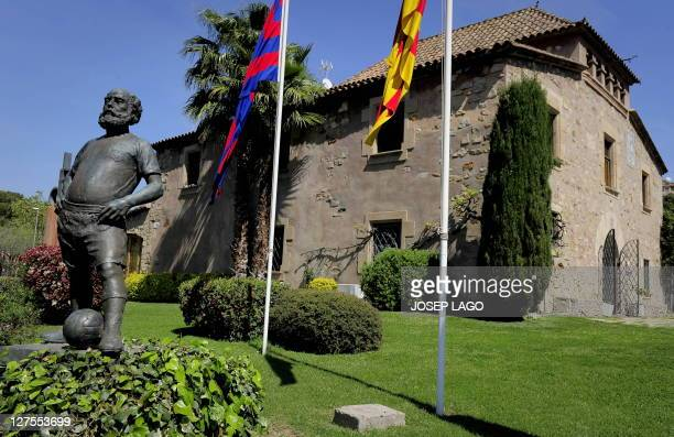 WITH Espagne Barcelone la Masia creuset de l'alchimie blaugrana by YANN Picture taken on April 06 2011 shows the building named La Masia where young...
