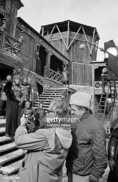 Espagne février 1963 Le tournage du film américain La chute de l'Empire romain d'Anthony Mann Ici le directeur de la photographie Robert KRASKER...