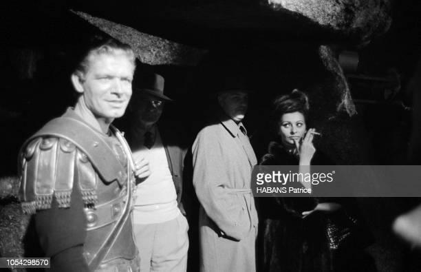 Espagne février 1963 Le tournage du film américain La chute de l'Empire romain d'Anthony Mann avec Sophia LOREN Ici sur le plateau de tournage...