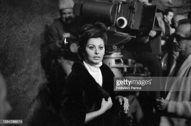 Espagne février 1963 Le tournage du film américain La chute de l'Empire romain d'Anthony Mann avec Sophia LOREN Ici l'actrice italienne en plan...