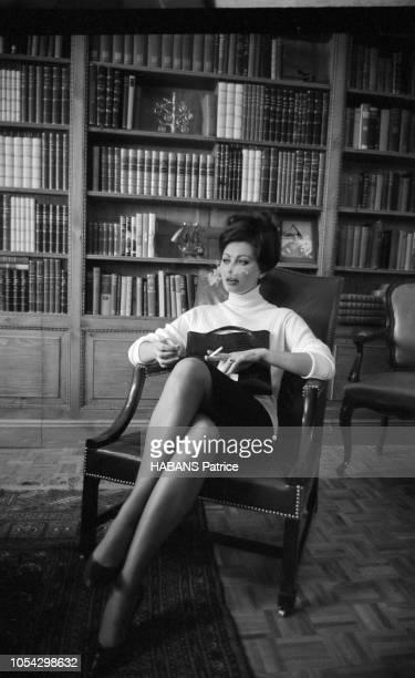 Espagne février 1963 Le tournage du film américain La chute de l'Empire romain d'Anthony Mann avec Sophia Loren Ici l'actrice italienne Sophia LOREN...