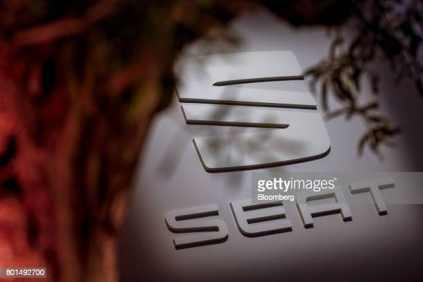 Espanola de Automovil Turismo signage is displayed during a launch event for the company's new Arona compact sports utility vehicle in Barcelona...