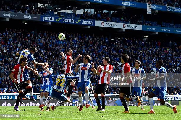 Espanyol and Athletic Club players compete for the ball during the La Liga match between Real CD Espanyol and Athletic Club de Bilbao at CornellaEl...