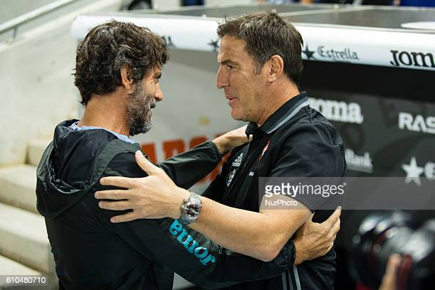 Espanyol coach Quique Sanchez Flores and Celta coach Berizzo during the RCD Espanyol vs Real Club Celta de Vigo of La Liga played at the RCDE Stadium...