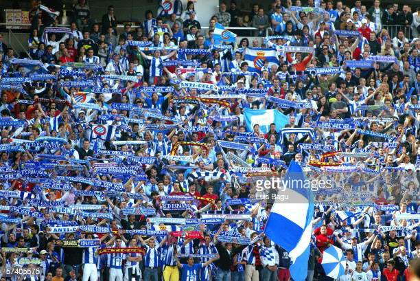 Espanyol fans during the La Liga match between RCD Espanyol and Real Betis at the Lluis Companys stadium on April 23 in Barcelona Spain