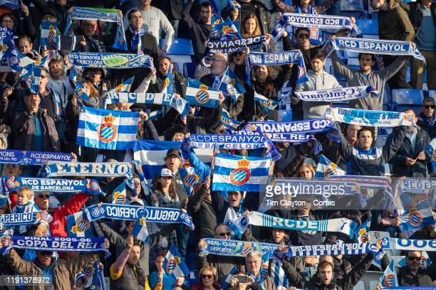 Espanyol fans supporting their side during the Espanyol V Osasuna La Liga regular season match at RCDE Stadium on December 1st 2019 in Barcelona Spain