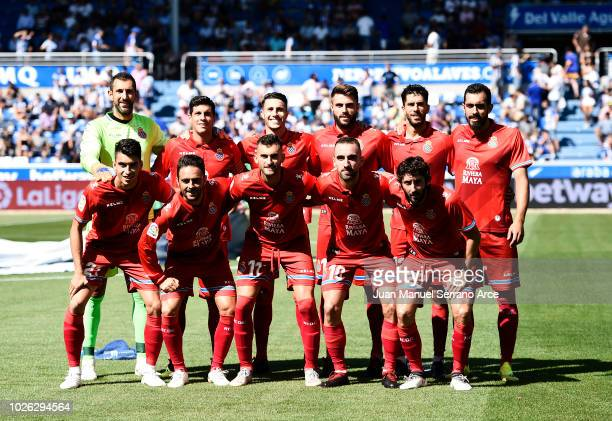Espanyol line up for a team photo prior to the La Liga match between Deportivo Alaves and RCD Espanyol at Estadio de Mendizorroza on September 2 2018...