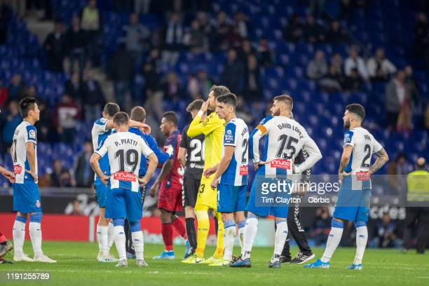 December 01: Espanyol players at the end of the game after their loss during the Espanyol V Osasuna, La Liga regular season match at RCDE Stadium on...