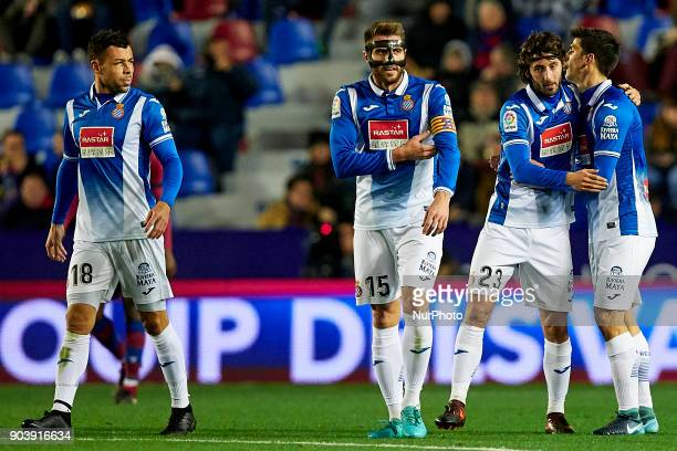 RCD Espanyol players celebrate a goal during the Copa del Rey Round of 16 second leg game between Levante UD and RCD Espanyol at Ciutat de Valencia...