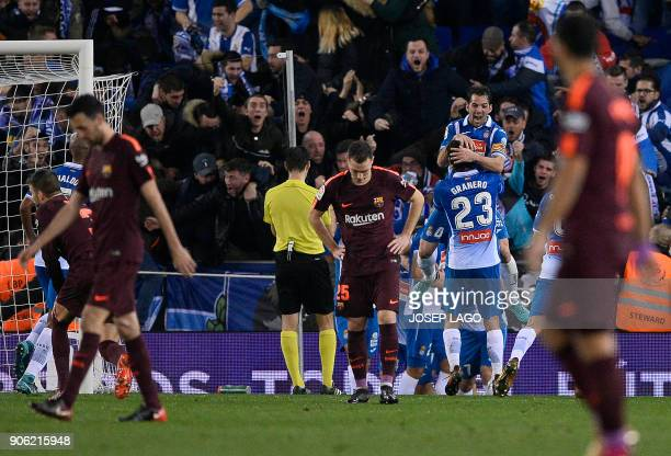 Espanyol players celebrate a goal during the Spanish 'Copa del Rey' quarterfinal first leg football match between RCD Espanyol and FC Barcelona...