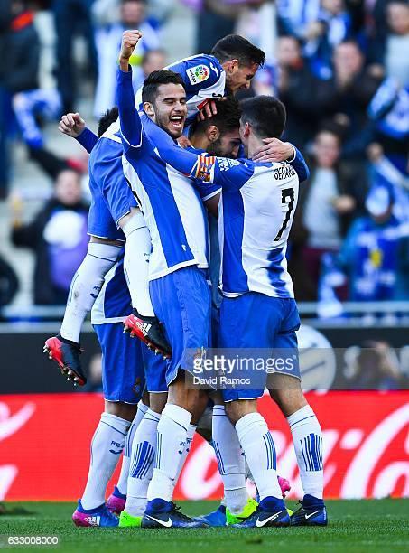 Espanyol players celebrate after Marc Navarro of RCD Espanyol scored his team's second goalduring the La Liga match between RCD Espanyol and Sevilla...